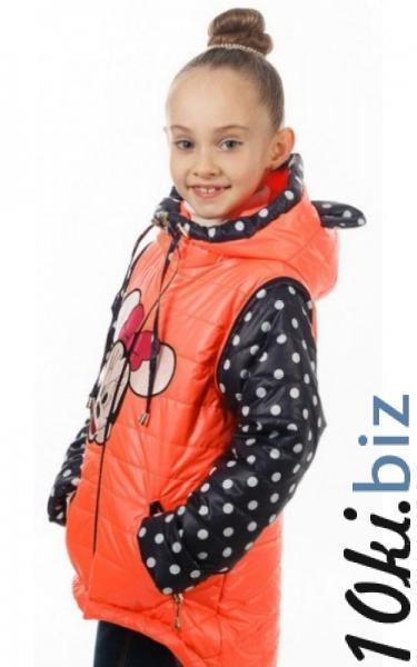 140022 Куртка-жилет МАКСИ демисезонная д/дев.(коралл+горох) Куртки демисезонные для девочек на рынке Атлант в Ростове на Дону