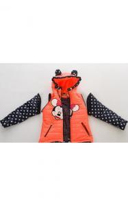 Фото Верхняя одежда (весна-осень) 140022 Куртка-жилет МАКСИ демисезонная д/дев.(коралл+горох)