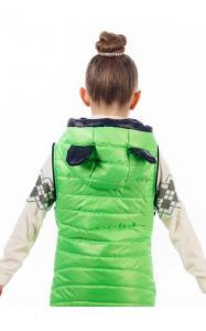 Фото Верхняя одежда (весна-осень) 140024 Куртка-жилет МАКСИ демисезонная д/дев.(салатный)