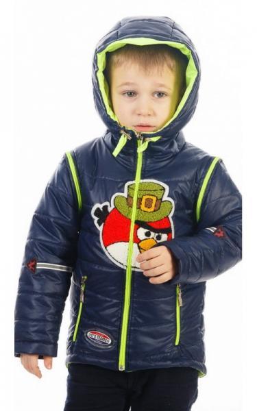 27-031 Куртка-жилет МУЛЬТИК деми (салат+синий, аппликация Энгри Бёрдс)