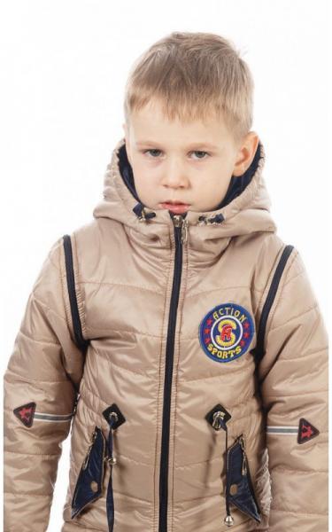 27004 Куртка-жилет НАШИВКА демисезонная (бежевый)