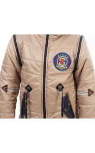 Фото Верхняя одежда (весна-осень) 27004 Куртка-жилет НАШИВКА демисезонная (бежевый)