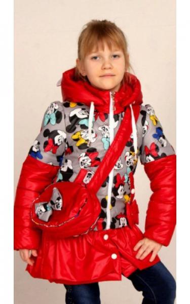 2507 Куртка-трансформер СОФИЯ с сумочкой (красный+принт микки)