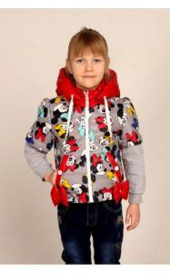 Фото Верхняя одежда (весна-осень) 2507 Куртка-трансформер СОФИЯ с сумочкой (красный+принт микки)