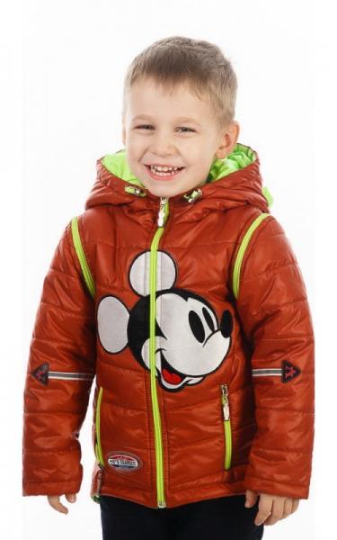 27003 Куртка-жилет МУЛЬТИК деми (салат+кирпичный, аппликация Микки-Маус)