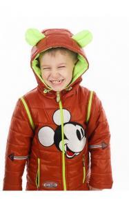 Фото Верхняя одежда (весна-осень) 27003 Куртка-жилет МУЛЬТИК деми (салат+кирпичный, аппликация Микки-Маус)