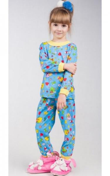 53003 Пижама детская 100% хлопок(синий+принт)