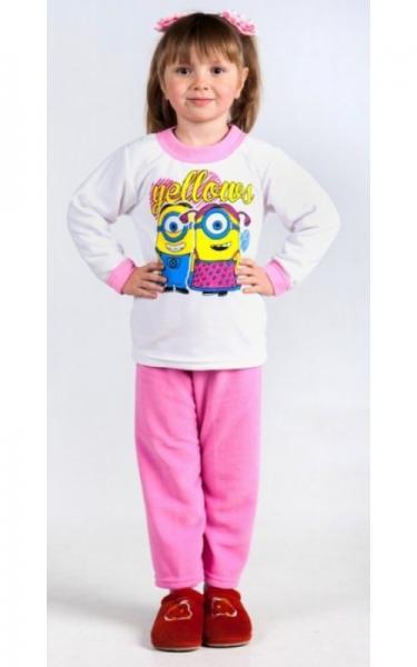 53020 Пижама флисовая д/дев (розовый+белый)