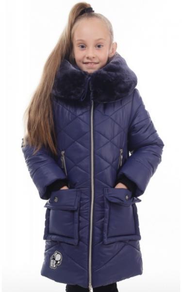 02118 Пальто(зима) МУНА д/дев (т.синий)