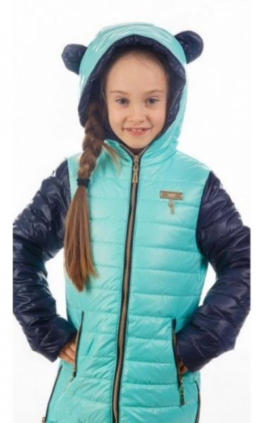 280291 Куртка МАКСИ демисезонная (синий+бирюза)