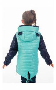 Фото Верхняя одежда (весна-осень) 280291 Куртка МАКСИ демисезонная (синий+бирюза)