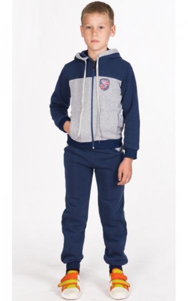 УК06 Спорт.костюм утепленный (т.синий+св.серый)