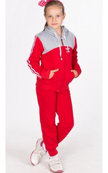 УК02 Спорт.костюм утепленный (красный+св.серый)