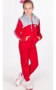 Фото Спортивная одежда УК02 Спорт.костюм утепленный (красный+св.серый)