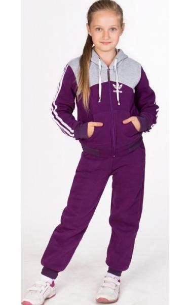 УК01 Спорт.костюм утепленный, унисекс (фиолетовый+св.серый)