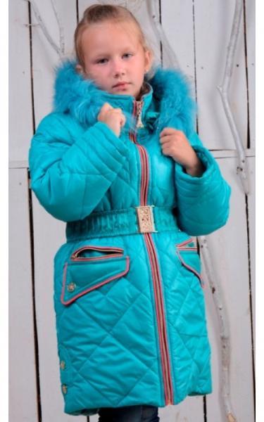 0837 Зимнее пальто ТАНЯ (бирюза)