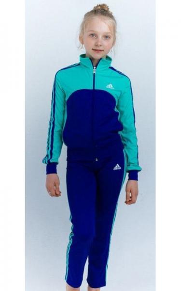 12109 Спорт. костюм д/дев  ЛЮДА (электрик+голубой)