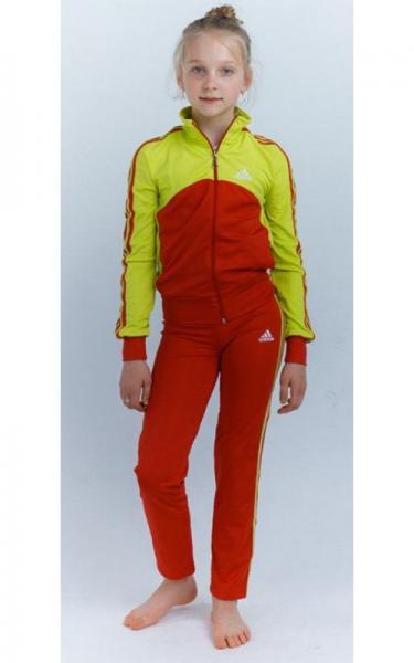 12108 Спорт. костюм д/дев  ЛЮДА (красный+лимон)