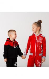 Фото Спортивная одежда 41-10 Костюм спортивный МОТЫЛЬКИ двунитка(красный)