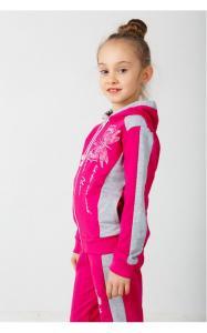Фото Спортивная одежда 41-11 Костюм спортивный МОТЫЛЬКИ двунитка(малина+серый)
