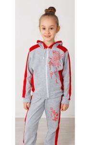 Фото Спортивная одежда 41-14 Костюм спортивный МОТЫЛЬКИ двунитка(серый+красный)