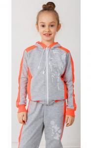 Фото Спортивная одежда 41-15 Костюм спортивный МОТЫЛЬКИ двунитка(серый+коралл)