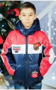 Фото Верхняя одежда (весна-осень) 0388 Куртка  ФЕДЯ (т.синий+красный+белый)
