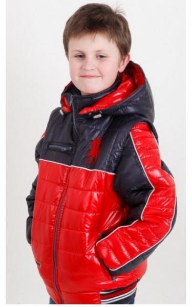 08021 Куртка-жилет ДЕМИД демисезонная (синий+красный)
