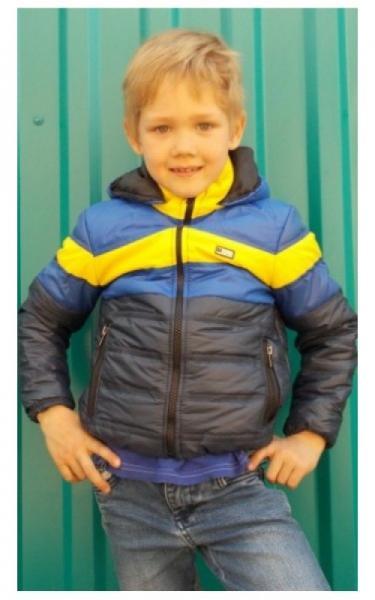 1003163 Куртка БАРНИ весенне-осенняя (т.синий+голубой+желтый)