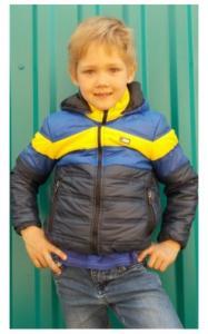 Фото Верхняя одежда (весна-осень) 1003163 Куртка БАРНИ весенне-осенняя (т.синий+голубой+желтый)