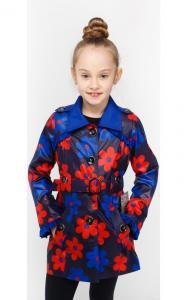 Фото Верхняя одежда (весна-осень) 16-301 Плащ ЦВЕТЫ-2 демисезонный д/дев.(электрик+красный)