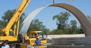 Фото  Строительство бескаркасных арочных сооружений
