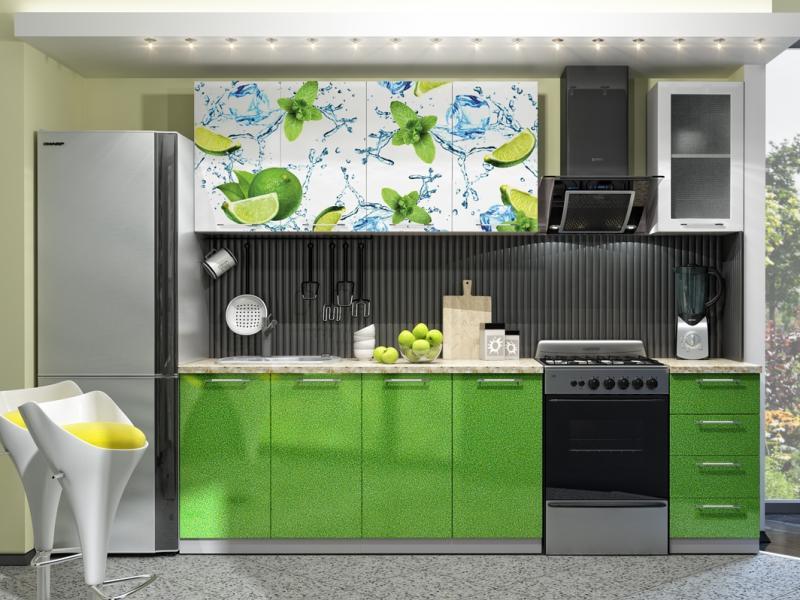 Фото Кухни готовые Кухня с Фотопечатью-Лайм 1,6 м(DCB)