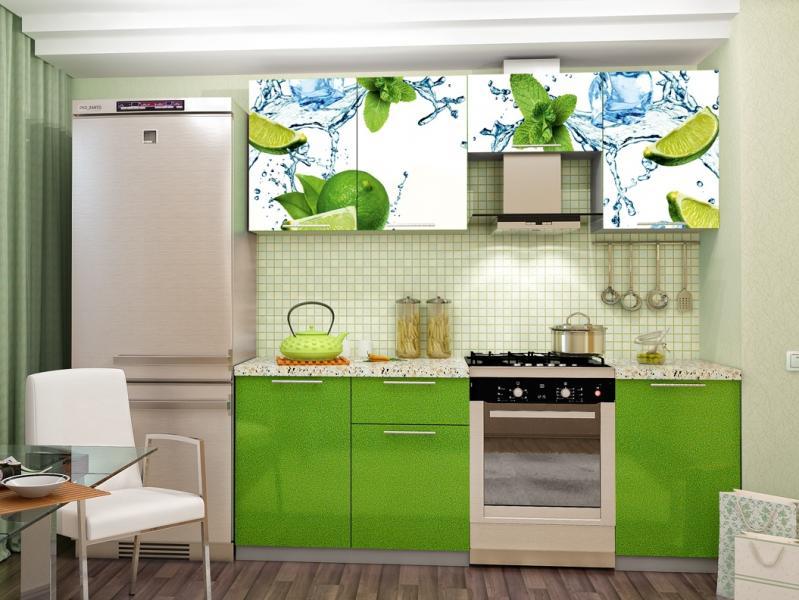 Фото Кухни готовые Кухня с Фотопечатью-Лайм 2.1 м(DCB)
