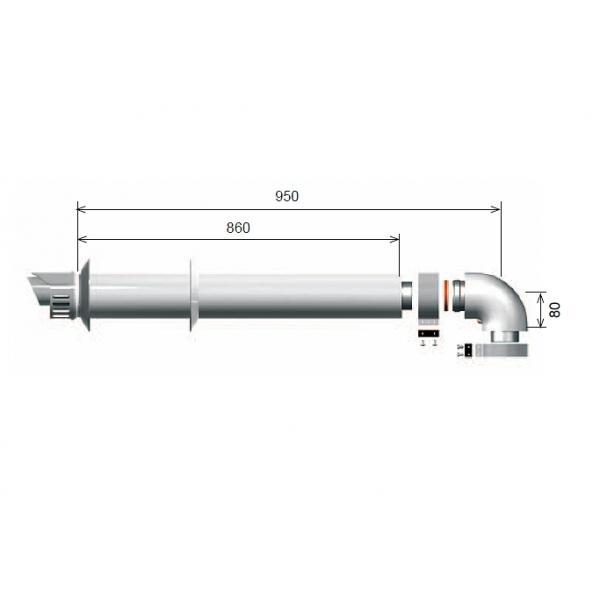Коаксиальный дымоход Ariston 60/100 для конденсационных котлов 1000 мм