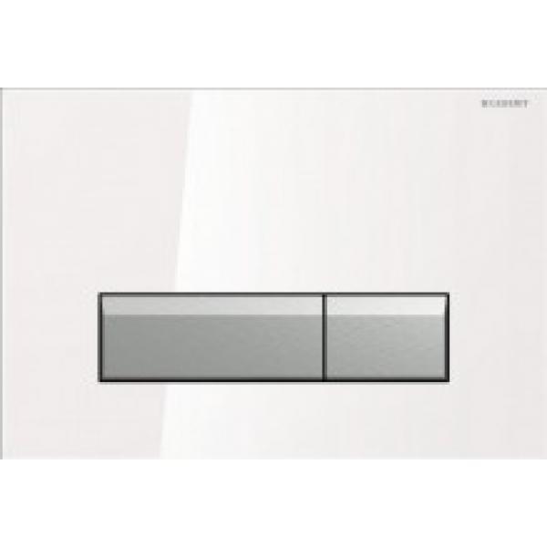 Клавиша смыва Geberit Sigma40, стекло, белый алюминий со встроенной системой удаления запаха 115.600.SI.1