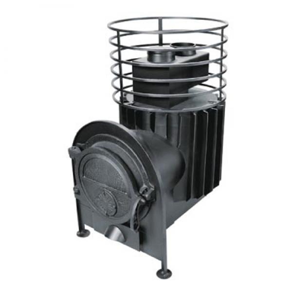 ПК-18КБ Банная печь большая с круглой сеткой и топкой в сауне/бане