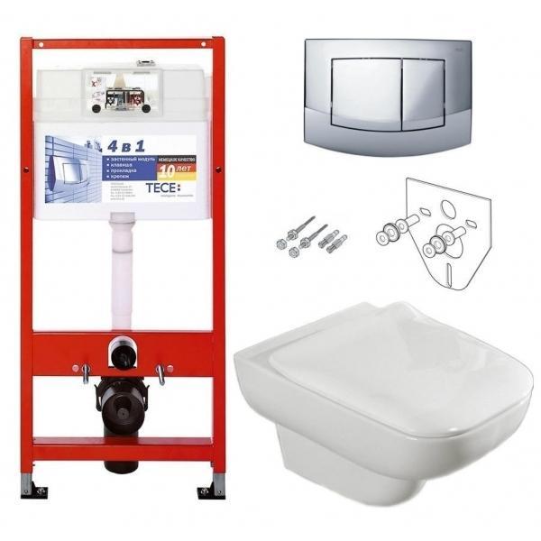 Комплект: Инсталляция TECE base kit 9400005 + унитаз подвесной Villeroy&Boch JOYCE Slimseat 56071001/9M62S101