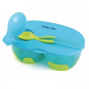 Фото       Для малышей, Кормление  Тарелка пластик детская, ложка силиконовая, тарелка с крышкой (Польша)