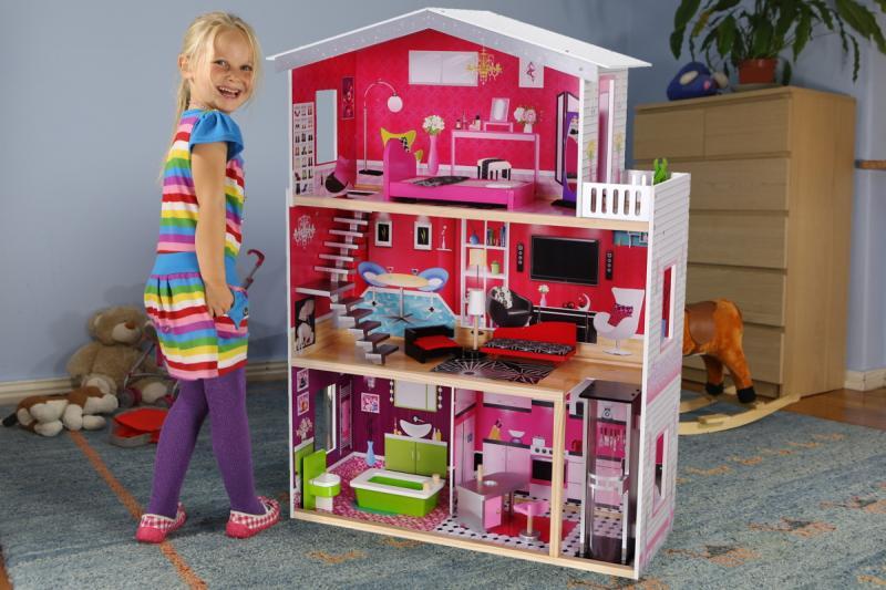 """Большой кукольный домик Eco toys """"Malibu"""" с лифтом (Польша) из дерева!"""