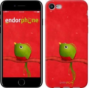 """Чехол на iPhone 7 Птичка на ветке на красном фоне """"144c-336"""""""