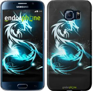 "Чехол на Samsung Galaxy S6 G920 Бело-голубой огненный дракон ""113c-80"""