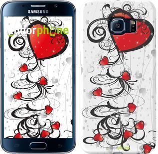 "Чехол на Samsung Galaxy S6 G920 Сердца ""1581c-80"""