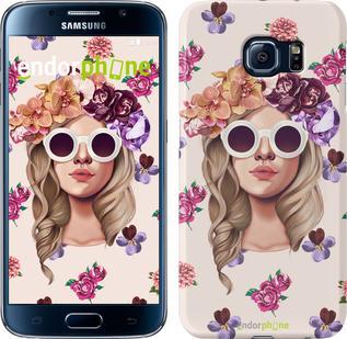 "Чехол на Samsung Galaxy S6 G920 Девушка с цветами v2 ""3569c-80"""
