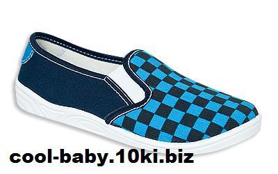 Детские мокасины текстильные для мальчика синий шахматка Paskal 5862 ZETPOL 25-36