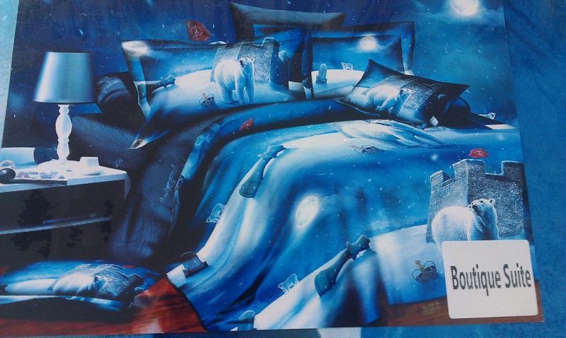 Комплект постельного белья 3D Двуспальный Евро (коттон-полиамид), Турция, Северный полюс