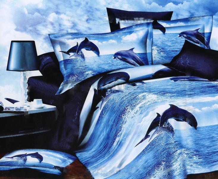 Постельное белье 3D Двуспальный Евро (коттон-полиамид), Турция, Дельфины