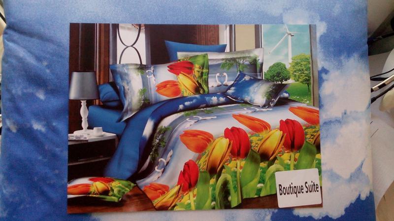 Постельное белье 3D Двуспальный Евро (коттон-полиамид), Турция, Лебеди и цветы