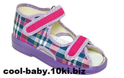 Детские босоножки текстильные для девочки клетка фиолетовые OLIWIA 2090 ZETPOL 20-27