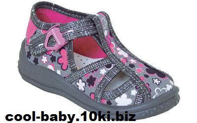 Детские босоножки текстильные для девочки серый цветы Tosia 2441 ZETPOL 18-27